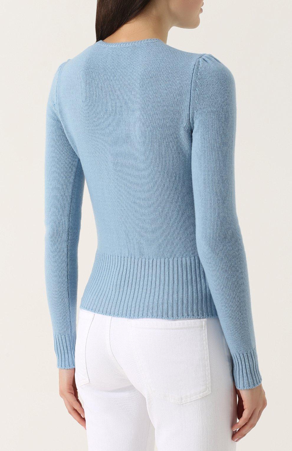Шерстяной пуловер с контрастной отделкой Dolce & Gabbana голубой | Фото №4