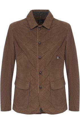 Стеганая замшевая куртка на кнопках с отложным воротником