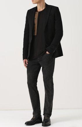 Хлопковый лонгслив с круглым вырезом Ziggy Chen черная | Фото №1