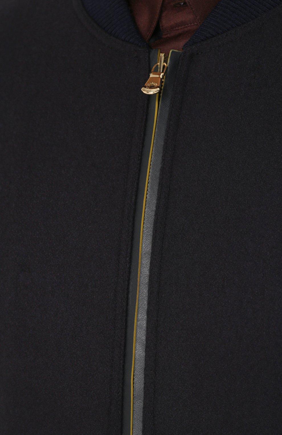 Шерстяной бомбер на молнии с контрастной отделкой Dolce & Gabbana темно-синяя | Фото №5