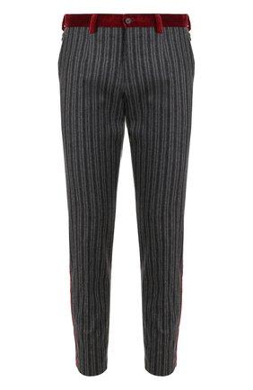 Брюки прямого кроя из смеси шерсти и хлопка с контрастными лампасами Dolce & Gabbana темно-серые | Фото №1