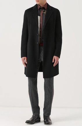 Брюки прямого кроя из смеси шерсти и хлопка с контрастными лампасами Dolce & Gabbana темно-серые | Фото №2