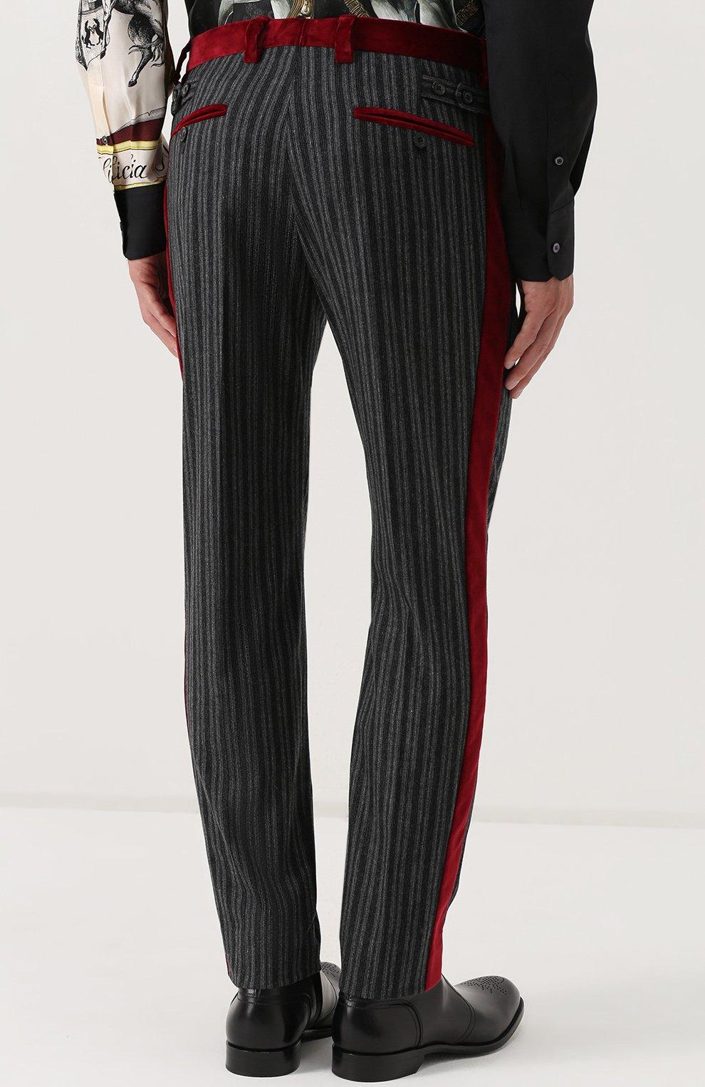 Брюки прямого кроя из смеси шерсти и хлопка с контрастными лампасами Dolce & Gabbana темно-серые | Фото №4