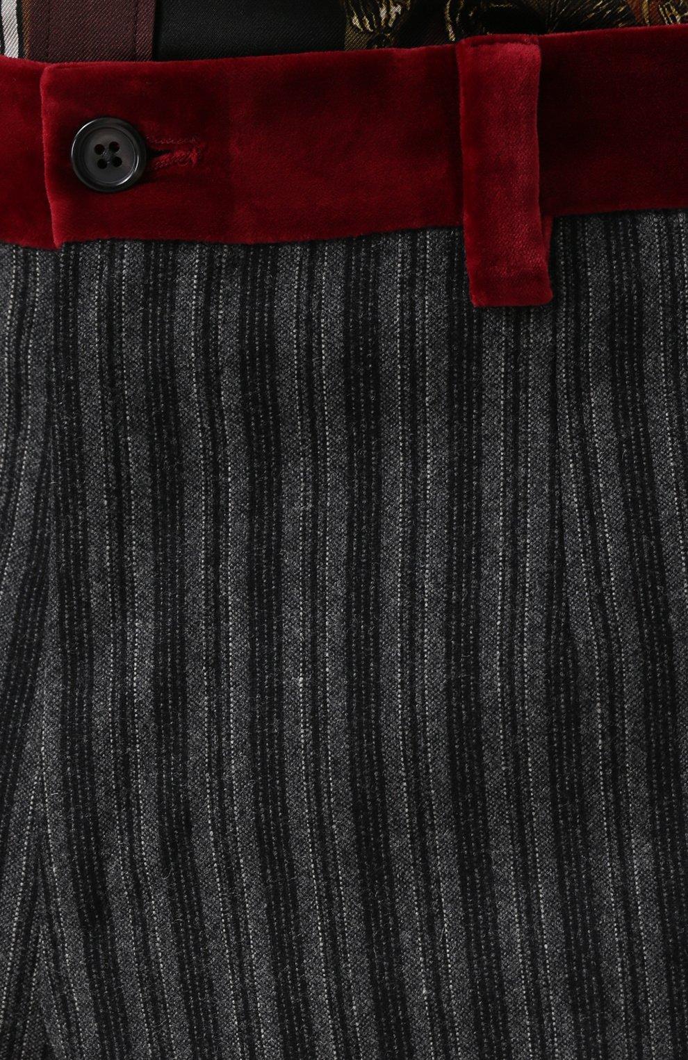 Брюки прямого кроя из смеси шерсти и хлопка с контрастными лампасами Dolce & Gabbana темно-серые | Фото №5