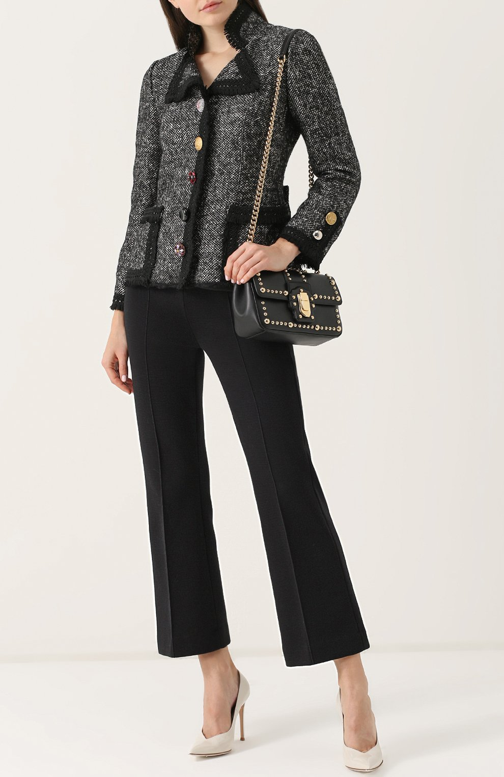 Приталенный жакет с декорированными пуговицами Dolce & Gabbana серый | Фото №2