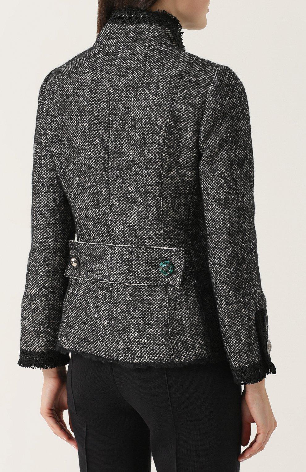 Приталенный жакет с декорированными пуговицами Dolce & Gabbana серый | Фото №4