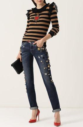 Джинсы с потертостями и декоративной отделкой Dolce & Gabbana синие | Фото №2