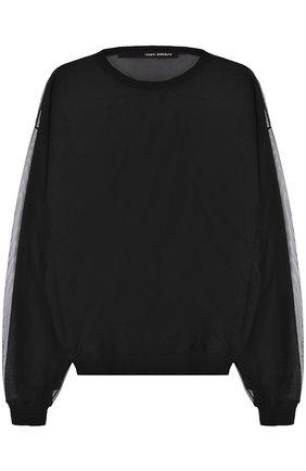 Прозрачный пуловер с круглым вырезом   Фото №1