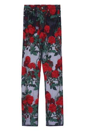 Прозрачные брюки с цветочной вышивкой | Фото №1