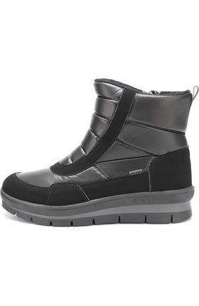 Детские комбинированные утепленные ботинки Jog Dog черного цвета | Фото №1