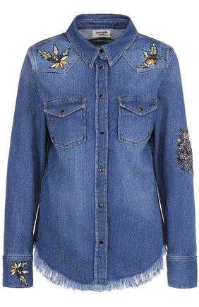 Джинсовая блуза с потертостями и вышивкой | Фото №1