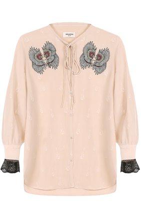 Женская шелковая блуза с укороченным рукавом и вышивкой Zadig&Voltaire, цвет бежевый, арт. WFCP3202F в ЦУМ | Фото №1