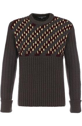 Шерстяной свитер фактурной вязки с контрастной отделкой | Фото №1