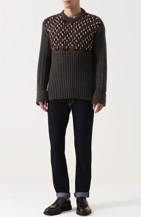 Шерстяной свитер фактурной вязки с контрастной отделкой | Фото №2