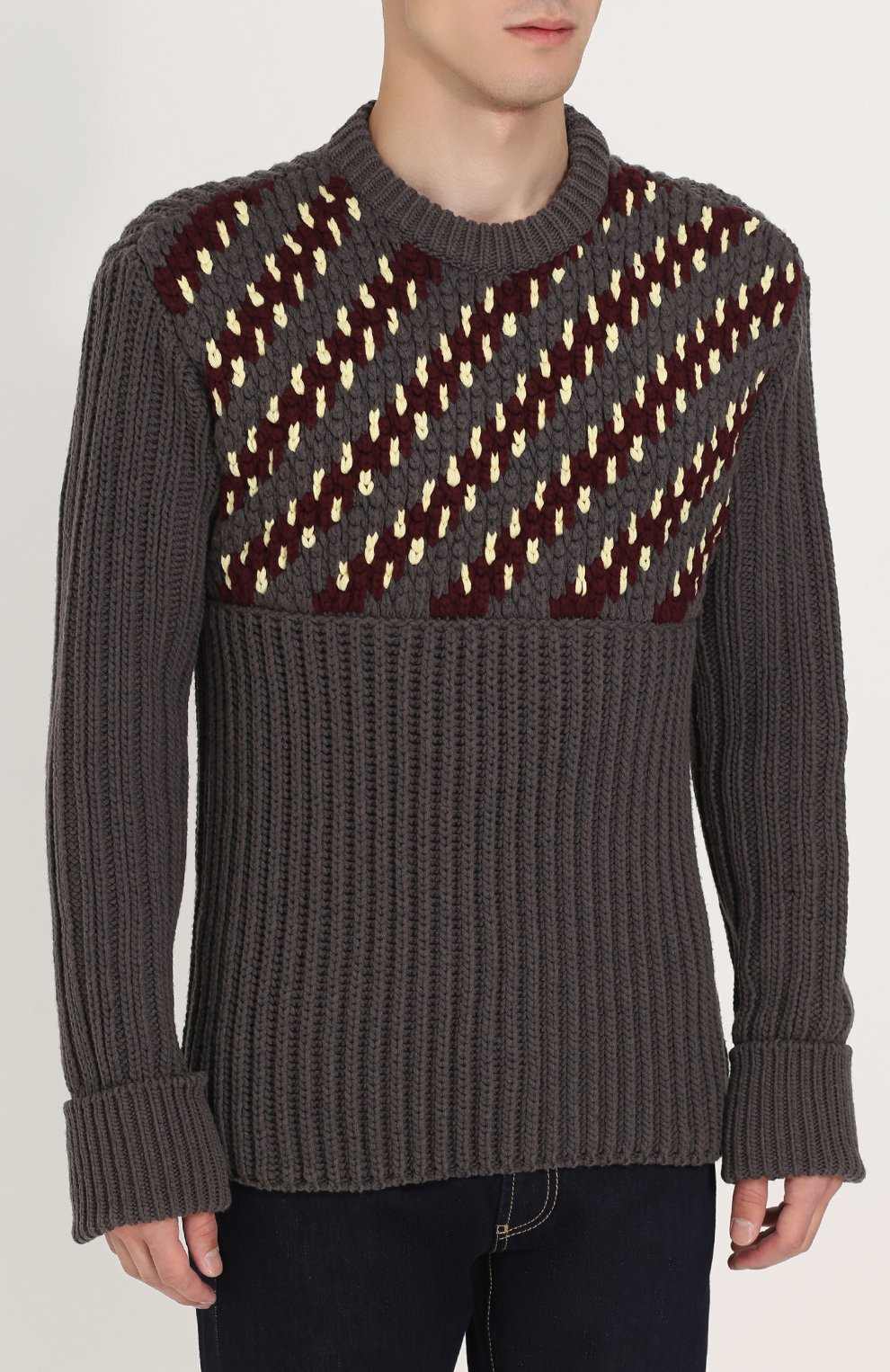 Шерстяной свитер фактурной вязки с контрастной отделкой | Фото №3