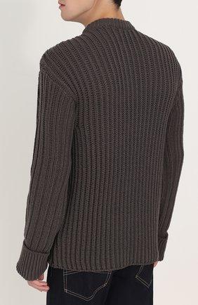 Шерстяной свитер фактурной вязки с контрастной отделкой | Фото №4