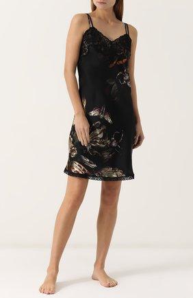 Приталенная шелковая пижама с кружевной отделкой Morpho&Luna черная | Фото №1