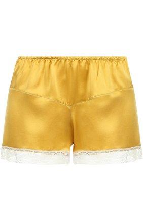 Шелковые мини-шорты с кружевной отделкой Morpho&Luna желтые | Фото №1