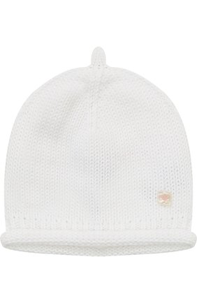Хлопковая шапка фактурной вязки   Фото №1