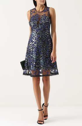 Приталенное мини-платье без рукавов Elie Tahari темно-синее | Фото №1