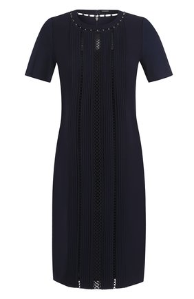 Приталенное мини-платье с коротким рукавом Elie Tahari темно-синее | Фото №1