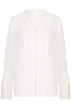 Женская шелковая блуза с v-образным вырезом Elie Tahari, цвет белый, арт. E610N517 в ЦУМ | Фото №1