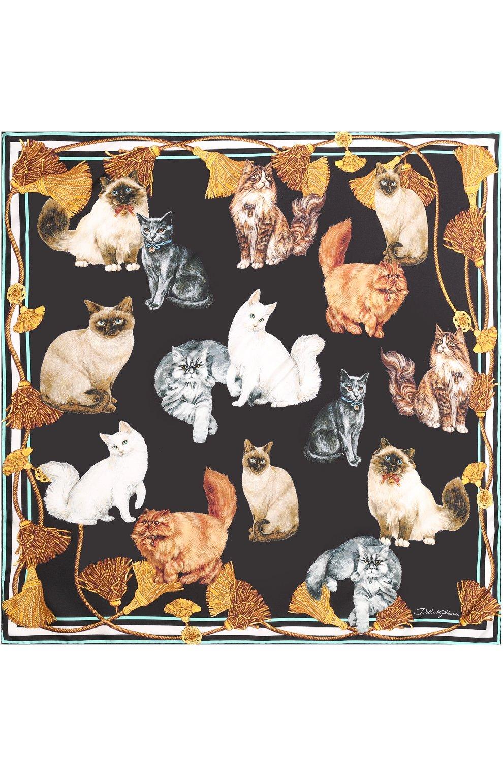 Шелковый платок с принтом Dolce & Gabbana разноцветный | Фото №3