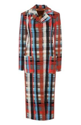 Приталенное шерстяное пальто с накладными карманами | Фото №1