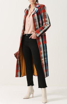 Приталенное шерстяное пальто с накладными карманами | Фото №2