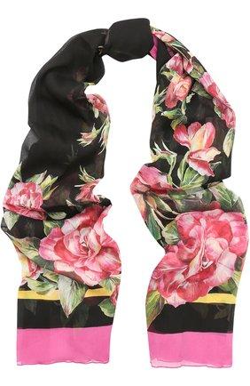 Шелковый шарф с цветочным принтом Dolce & Gabbana черный | Фото №1
