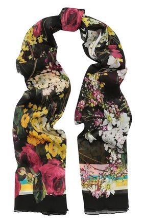 Шелковый шарф с цветочным принтом Dolce & Gabbana разноцветный | Фото №1