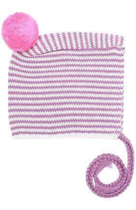 Хлопковая шапка с помпоном на завязках Egg By Susan Lazar лилового цвета | Фото №1