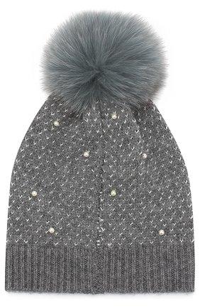 Шерстяная шапка фактурной вязки с помпоном Yves Salomon Enfant голубого цвета | Фото №1