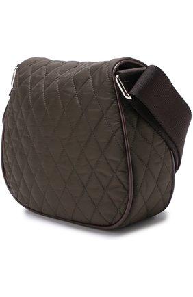 Текстильная сумка с прострочкой Moncler Enfant хаки цвета | Фото №1