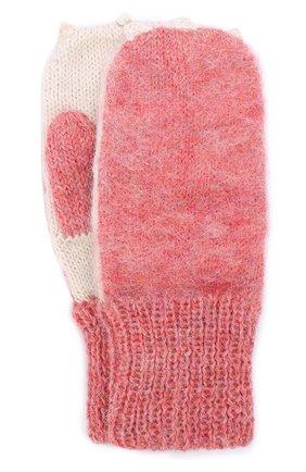 Детские вязаные варежки Oeuf розового цвета | Фото №1