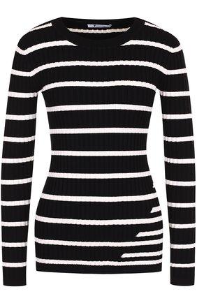 Облегающий пуловер фактурной вязки в полоску T by Alexander Wang черно-белый | Фото №1