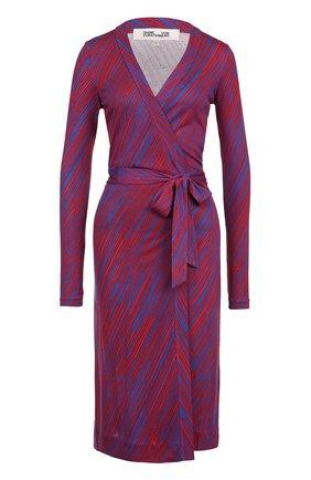 Шелковое платье с запахом и принтом Diane Von Furstenberg разноцветное   Фото №1