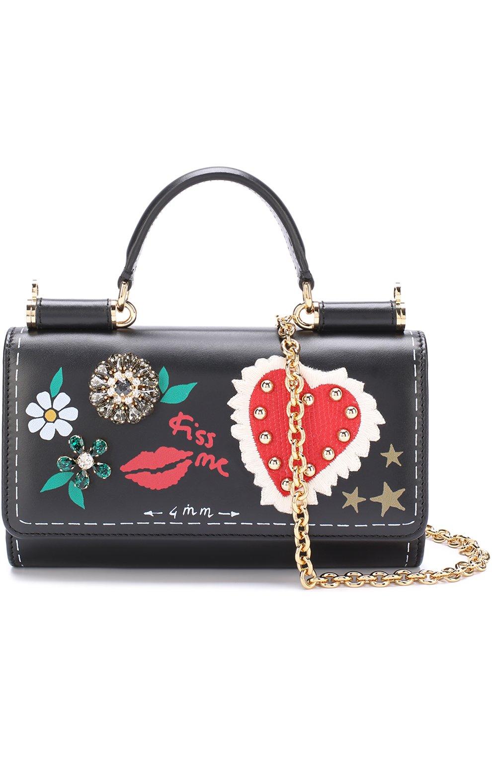 Кожаный чехол для iPhone 7 Plus на цепочке Dolce & Gabbana  | Фото №4