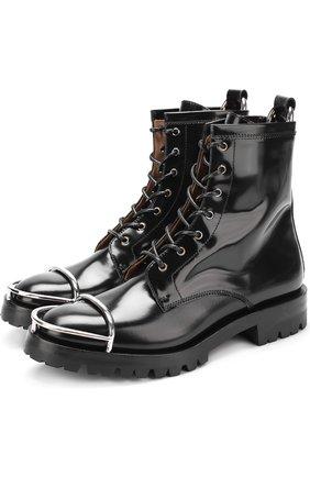 Кожаные ботинки с металлической отделкой на мысе