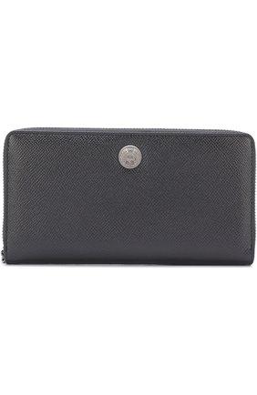 Кожаное портмоне на молнии с отделениями для кредитных карт и монет Dolce & Gabbana черного цвета | Фото №1