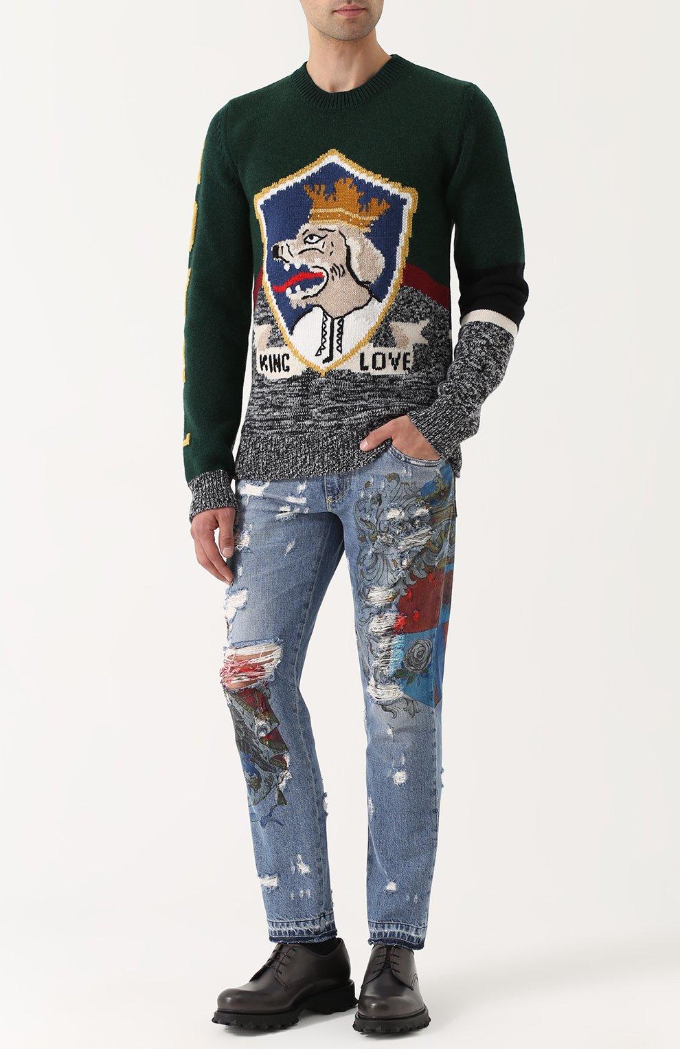 Джинсы прямого кроя с принтом и потертостями Dolce & Gabbana голубые   Фото №2