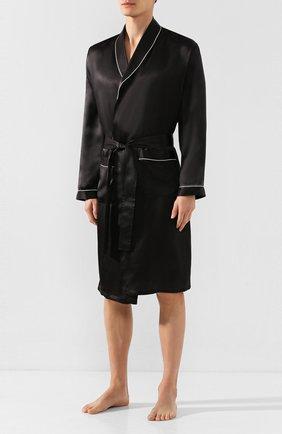 Мужской шелковый халат ZIMMERLI черного цвета, арт. ZN-37 | Фото 2