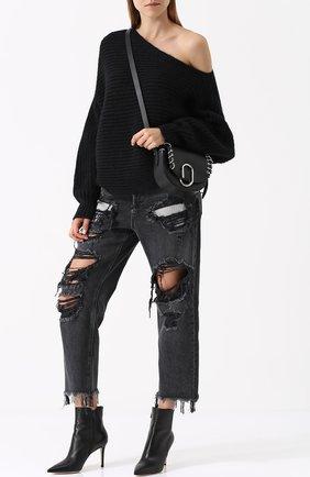 Джинсы свободного кроя с потертостями Denim X Alexander Wang серые | Фото №1