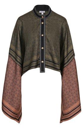 Шелковая блуза свободного кроя с расклешенными рукавами | Фото №1