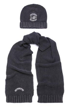 Хлопковый комплект из шапка и шарфа с нашивкой | Фото №1