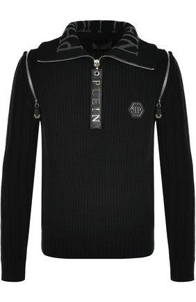 Шерстяной свитер с воротником на молнии   Фото №1