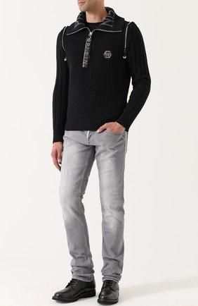 Шерстяной свитер с воротником на молнии   Фото №2