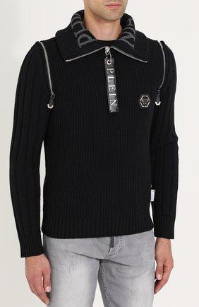 Шерстяной свитер с воротником на молнии   Фото №3