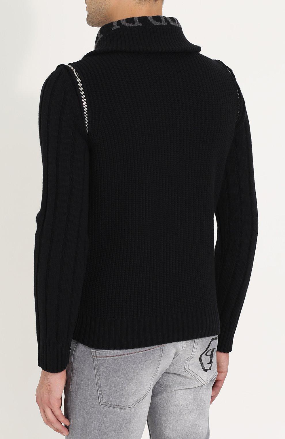 Шерстяной свитер с воротником на молнии   Фото №4