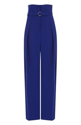 Широкие брюки с защипами и завышенной талией с поясом | Фото №1